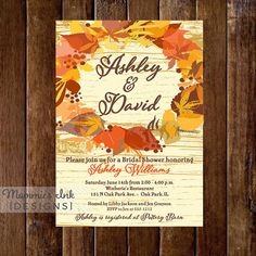 Fall Wreath Rustic Wood Background Bridal Shower Invite by MommiesInk, $14.00
