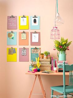 Wall art, great for an office or childrens bedroom. I love the mixture of colours but the continuity of notice boards.
