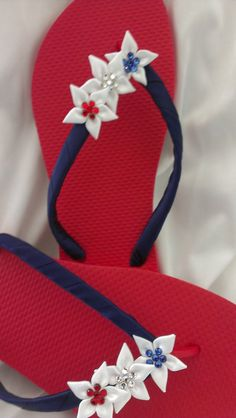 Patriotic 4th of July Flip Flops Red White Blue with by IslandToes, $28.00
