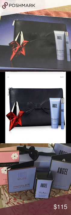 MUGLER Angel Four-Piece  Gift Set deluxe  NWT Embrace the power of this heavenly scent and experience pure unbridled joy as bergamot, honey, red berries, vanilla, caramel and chocolate envelop the skin with a rich texture and a delicate kiss. Set includes: Eau de Parfum refillable passion star, 0.80 fl. oz., Eau de Parfum Spray, 1.7 fl. oz., Perfuming Body Lotion, 1.7 oz. and Mugler cosmetic bag. Imported.. plus extra travel sets perfume and lotion's. Plus extra goodies mugler Accessories