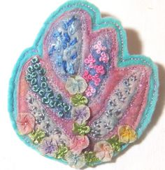 Pretty felted embroidered brooch with 1930s rococco ribbon trim - Country garden by Feltissimo on Etsy