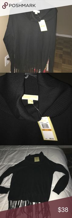 Brand New with Tags Black polo neck Fashion Top beautiful design 51%cotton Michael Kors Tops