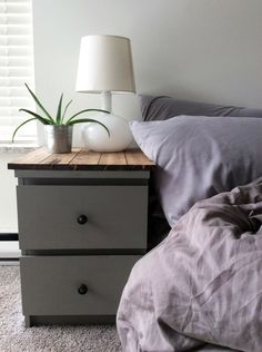 DIY IKEA MALM hack! A few coats of paint, some 1x4's and a couple of cheap pull knobs! Instant bedroom facelift! #diy #homedecor