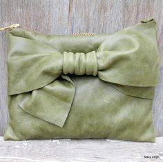 Olive Leather Bow Zipper Pouch