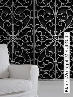 Bild: Tapeten   Black Wrought Metal Gate