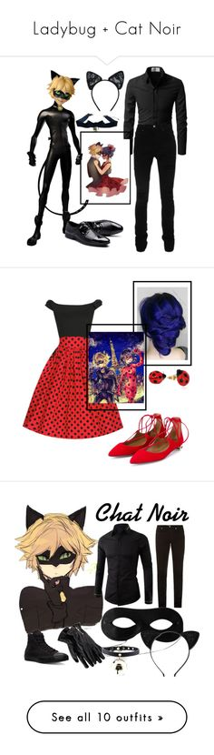 """Ladybug + Cat Noir"" by janemorguedoe ❤ liked on Polyvore featuring AMIRI, Maison Close, Aquazzura, Nach, art, Yves Saint Laurent, Merona, Kate Spade, Kevin Jewelers and ASOS"