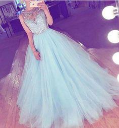 Simple Prom Dresses, sky blue prom dress long prom dress tulle prom dress a line prom dress cheap prom gown beading prom dresses LBridal Pageant Dresses For Teens, Prom Dresses 2017, A Line Prom Dresses, Formal Evening Dresses, Quinceanera Dresses, Formal Prom, Dress Formal, Backless Dresses, Chiffon Dresses