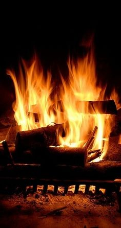 A warm and cozy roaring fire on chilly nights