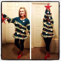 15 DIY Ugly Christmas Sweaters you can make! Get creative and make your own Ugly Christmas Sweater with these 15 tacky Christmas Sweaters ideas! Ugliest Christmas Sweater Ever, Homemade Ugly Christmas Sweater, Tacky Christmas Sweater, Funny Christmas Sweaters, Tacky Sweaters, Christmas Shirts, Diy Christmas Costumes, Funny Christmas Outfits, Halloween Costumes