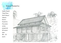 Final assignment (TMII), Survey on Sangihe Talaud house,  exterior perspective (2 points) A3 texture paper, 2B and HB pencils