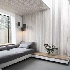 INSPIRATION : Window seat love this afternoon. Limed timber walls add harmonious contrast in this restful home designed by .We could definitely do with an afternoon kip right here, right now. Modern Interior, Interior Architecture, Dezeen Architecture, Garden Architecture, Scandinavian Interior, Room Interior, Minimalism Living, Timber Walls, Built In Seating
