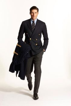Ralph Lauren, blue button down shirt, navy db blazer, charcoal pants, tie, casual Friday, toggle duffle coat