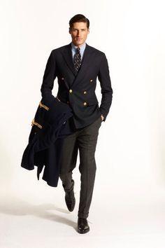 Ralph Lauren, blue button down shirt, navy db blazer, charcoal pants, tie, casual Friday, toggle duffle coat