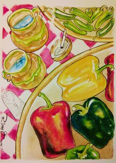 Table with Jars and peppers. Watercolour on Gvarro. 11 in X 15 in. Rivera Fernández 2016