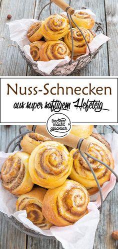 Fluffige Nuss-Schnecken | Backen macht glücklich Quiche, Pie, Sweets, Baking, Simple, Desserts, Cakes, Recipes, Grandma's Recipes