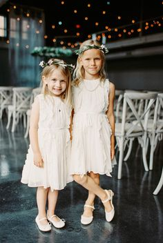 Adorable flower girls: http://www.stylemepretty.com/little-black-book-blog/2015/08/25/romantic-industrial-minneapolis-wedding-with-swedish-traditions/   Photography: Geneoh - http://geneoh.com/