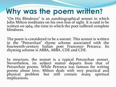 on his blindness poet~john milton poet~john milton  blindness essay poem analysis on on his blindness by john milton