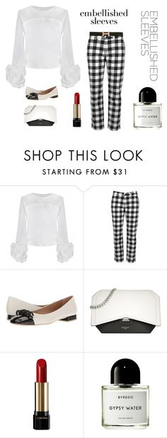 """""""Embellished Sleeves: Anne Fontaine blouse"""" by zouus ❤ liked on Polyvore featuring Victoria, Victoria Beckham, French Sole FS/NY, Givenchy, Lancôme, Byredo, Hermès, whiteblouse, checkerpants and embellishedblouse"""