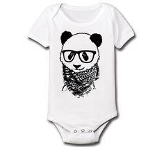 Panda Hipster - Cool Funny Hip Internet Meme Panda Boys Girls Novelty Infant Creeper - Baby Snap One Piece - E4614 on Etsy, $12.99
