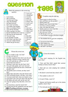 Question Tags worksheet - Free ESL printable worksheets made by teachers English Teaching Materials, Learning English For Kids, Teaching English Grammar, English Grammar Worksheets, Grammar Book, Kids English, English Writing, English Lessons, English Vocabulary