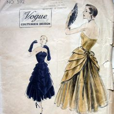 Vintage VOGUE COUTURIER 592 Womens Evening Dress Pattern High Fashion Strapless Gown circa1950 Sz 12 UNCUT