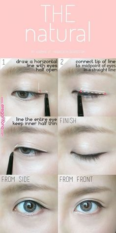 trendy Ideas for makeup everyday eyeliner make up Eyeliner Make-up, Korean Eyeliner, Makeup Tutorial Eyeliner, Eyeliner Styles, Makeup Eyeshadow, Natural Eyeliner Tutorial, Pink Eyeshadow, Eyeshadow Palette, Korean Eyeshadow