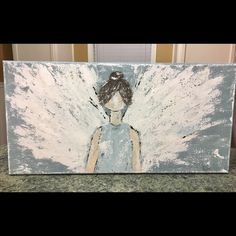 New palette knife angel painting just listed in my Etsy shop