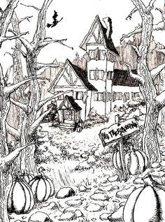 Galerie de coloriages gratuits coloriage-halloween-difficile. Sur le thème d'Halloween, voici un dessin très riche d'une maison hantée, au fond d'un jardin plein de citrouilles