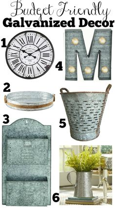 Vintage Farmhouse Decor Galvanized-Farmhouse-Decor- - This complete and affordable shopping guide will help get you started with transitioning to farmhouse style in your home. Country Farmhouse Decor, Modern Farmhouse Style, Farmhouse Style Decorating, Farmhouse Chic, Farmhouse Design, Farmhouse Ideas, Vintage Farmhouse, French Farmhouse, Vintage Decor