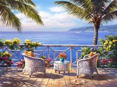 Global Gallery 'Two by the Sea' by Sung Kim Painting Print on Wrapped Canvas Size: Diy Painting, Painting Prints, Belle Image Nature, Seaside Garden, 5d Diamond Painting, Cross Paintings, Stretched Canvas Prints, Beautiful Paintings, Canvas Art