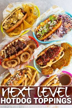 Impress your guests with these awesome Hot Dog Toppings! They're fun, easy to make and outright DELICIOUS! | www.dontgobaconmyheart.co.uk Easy Summer Meals, Quick Meals, Summer Recipes, Mexican Food Recipes, Healthy Recipes, Ethnic Recipes, Hot Dog Toppings, Buzzfeed Tasty, Hot Dog Recipes