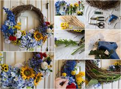 DIY Wreath in beautiful flowers and colors.  Design: Angela Marie Events