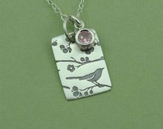 Bird Necklace - Sterling Silver Bird Pendant Jewelry, Birthstone Necklace, Teacher Gifts, Trendy Necklaces, Birthday Gift