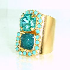 Druzy Statement Ring, Turquoise Ring, Wide Band Ring, Double Stones &  Crystal Ring, Druzy Mineral Ring, Unique Design By Inbal mishan. by inbalmishan on Etsy https://www.etsy.com/listing/201927254/druzy-statement-ring-turquoise-ring-wide