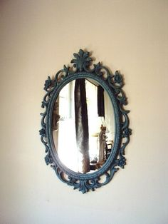 Vintage Shabby Chic Mirror with Baroque Rococo Frame French Chic Distressed Chippy Paint in French Blue Syroco Mirror Hollywood Regency Romantic Diy Gifts, Vintage Shabby Chic, French Rococo, Chic Mirror, Mirror, Shabby, Diy Beauty Organizer, Rustic Decor, Photo Frame Gift