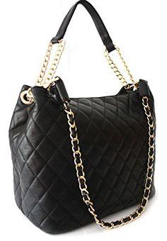 1c6cb415cad33 Sa-Lucca echt Leder Handtasche Damentasche Shopper Tasche Ledertasche  Schultertasche Ketten gesteppt schwarz MADE IN
