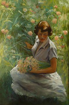 Petal Plucker. Oil on canvas. La Primavera in Tuscany.