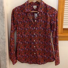 J. Crew Floral Print Buttondown The J. Crew Perfect Shirt in a fun, ditzy floral print perfect for this season's 70's trend. Brand new with tags! J. Crew Tops Button Down Shirts