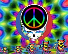 ☮ American Hippie Psychedelic Art ~ Peace Sign .. Grateful Dead Hippie Peace, Hippie Love, Hippie Art, Hippie Chick, Grateful Dead Poster, Grateful Dead Bears, Peace Sign Art, Peace Signs, Classic Rock Albums