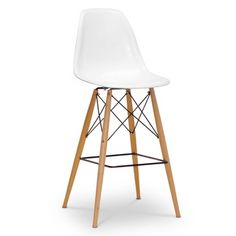 Baxton Studio Azzo White Plastic Mid-Century Modern Shell Stool for the best deal price of affordable modern furniture in Chicago. White Bar Stools, Modern Bar Stools, Home Bar Furniture, Furniture Ideas, Chicago Furniture, Furniture Outlet, Furniture Stores, Online Furniture, Affordable Modern Furniture
