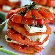 Tomaat-mozzarella van de rijzende zon