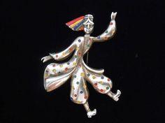 Pot Metal Enamel Figural Brooch Pin Russian Dancer