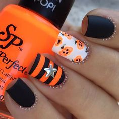 """""""Matte neon And more stripes Jack O' Lantern nails featuring @salonperfect…"""