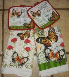 Amazon.com: Pretty Butterfly Dish Towels and Butterfly Pot Holders: Home & Kitchen