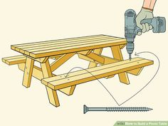 How to Build a Picnic Table. Whether you plan on sitting in the shade or having a picnic, having a sturdy table helps. Building a good table is relatively. Build A Picnic Table, Wooden Picnic Tables, Folding Picnic Table, Indoor Firewood Rack, Ideas Terraza, Log Cabin Designs, Woodworking Furniture Plans, Go Outdoors, Woodworking Techniques