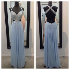 Jovani JVN22480. Available in Light Blue and White. Call for more details 858-481-4900. mia bella couture. mia bella. jovani. jovani fashions. prom dress. prom queen. crown. fashion. style. glam.