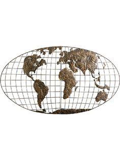 SEI Iron World Map Wall Art ❤ Southern Enterprises, Inc.