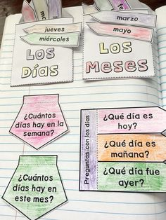Spanish Interactive Notebook Numbers, Days, and Months for Spanish class Elementary Spanish, High School Spanish, Spanish Teacher, Spanish Classroom, Days Of The Week Activities, Spanish Activities, Vocabulary Activities, Spanish Interactive Notebook, Interactive Notebooks