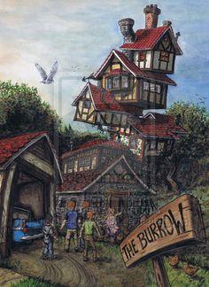 The Burrow - harry-potter Fan Art Harry Potter Book 2, Harry Potter Universe, Mundo Harry Potter, Images Harry Potter, Theme Harry Potter, Harry Potter Drawings, Harry Potter Aesthetic, The Burrow Harry Potter, Hogwarts
