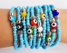 Evil Eye Bracelet Protection stretch bracelet evil eye   Etsy Eye Jewelry, Women Jewelry, Bohemian Bracelets, Beaded Bracelets, Boho Chic, Summer Bracelets, Turkish Jewelry, Evil Eye Bracelet, Stretch Bracelets